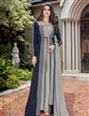 image of Eid Special Crepe Designer Function Wear Grey Embroidered Indo Western Suit