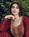 photo of Eid Special Designer Function Wear Chiffon Embroidered Gown In Maroon