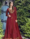 image of Eid Special Designer Function Wear Chiffon Embroidered Gown In Maroon