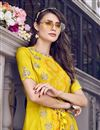 photo of Eid Special Yellow Embroidered Designer Function Wear Sharara Suit In Satin