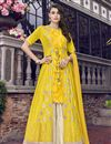image of Eid Special Yellow Embroidered Designer Function Wear Sharara Suit In Satin
