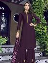 image of Wine Color Designer Function Wear Embroidered Art Silk Sharara Suit