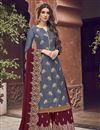 image of Elegant Grey Color Function Wear Embroidered Jacquard Fabric Palazzo Dress