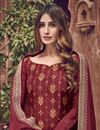 photo of Red Color Function Wear Elegant Embroidered Palazzo Suit In Jacquard Fabric