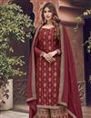 image of Red Color Function Wear Elegant Embroidered Palazzo Suit In Jacquard Fabric