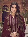 photo of Function Wear Elegant Maroon Color Embroidered Jacquard Fabric Palazzo Dress
