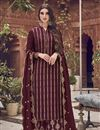 image of Function Wear Elegant Maroon Color Embroidered Jacquard Fabric Palazzo Dress