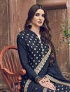 photo of Jacquard Fabric Function Wear Elegant Embroidered Palazzo Suit In Navy Blue Color