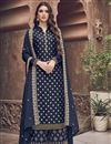 image of Jacquard Fabric Function Wear Elegant Embroidered Palazzo Suit In Navy Blue Color