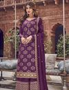 image of Function Wear Jacquard Fabric Elegant Purple Color Embroidered Palazzo Dress
