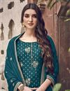 photo of Elegant Teal Color Function Wear Embroidered Palazzo Suit In Jacquard Fabric