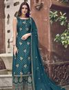 image of Elegant Teal Color Function Wear Embroidered Palazzo Suit In Jacquard Fabric