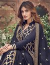 photo of Function Wear Elegant Navy Blue Color Embroidered Palazzo Suit In Jacquard Fabric