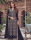 image of Function Wear Elegant Navy Blue Color Embroidered Palazzo Suit In Jacquard Fabric