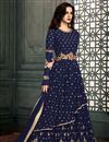 image of Excellent Embroidery On Navy Blue Color Party Wear Anarkali Suit In Georgette