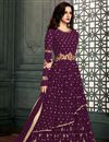 image of Soothing Georgette Designer Anarkali Dress In Burgundy Color With Embroidery