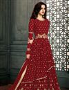image of Maroon Embroidered Wedding Wear Beautiful Anarkali Suit In Georgette