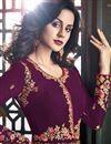 photo of Party Wear Long Anarkali Salwar Suit In Burgundy With Embroidery Work