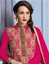 photo of Artistically Embroidered Pink Color Georgette Designer Straight Cut Suit