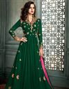 image of Dazzling Dark Green Party Wear Embroidered Anarkali Dress In Georgette