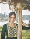 photo of Cotton Silk Dark Green Embroidered Party Wear Kurti With Palazzo