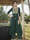 image of Cotton Silk Dark Green Embroidered Party Wear Kurti With Palazzo