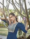 photo of Cotton Silk Blue Embroidered Party Wear Kurti With Palazzo