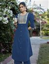 image of Cotton Silk Blue Embroidered Party Wear Kurti With Palazzo