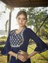 photo of Navy Blue Party Wear Cotton Silk Embroidered Kurti With Bottom