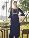 image of Navy Blue Party Wear Cotton Silk Embroidered Kurti With Bottom