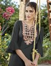 photo of Grey Embroidered Cotton Silk Party Wear Kurti With Bottom