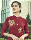 photo of Party Wear Maroon Color Thread Embroidered Kurti With Palazzo In Cotton Fabric