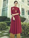 image of Party Wear Maroon Color Thread Embroidered Kurti With Palazzo In Cotton Fabric