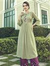 image of Cotton Fabric Cream Thread Embroidered Party Wear Kurti With Palazzo