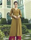 image of Cotton Fabric Khaki Color Thread Embroidered Party Wear Kurti With Palazzo