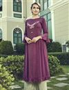 image of Party Wear Purple Thread Embroidered Cotton Fabric Kurti With Palazzo