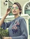 photo of Grey Party Wear Thread Embroidered Kurti With Bottom In Cotton Fabric