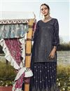 image of Navy Blue Color Party Style Trendy Embroidered Georgette Fabric Palazzo Suit