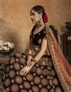 photo of Maroon Color Velvet Fabric Reception Wear Lehenga Choli With Embroidery Work