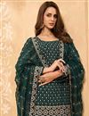 photo of Dark Green Color Party Style Embroidered Georgette Fabric Sharara Suit