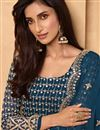 photo of Georgette Fabric Party Style Teal Color Embroidered Sharara Suit