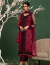image of Pink Color Party Style Thread Embroidered Net Fabric Salwar Kameez