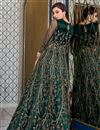 picture of Dark Green Color Sangeet Wear Elegant Embroidered Net Fabric Gown Style Anarkali Suit