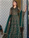 image of Dark Green Color Sangeet Wear Elegant Embroidered Net Fabric Gown Style Anarkali Suit