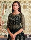 photo of Net Fabric Sangeet Wear Elegant Embroidered Gown Style Anarkali Suit In Black Color