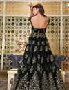 picture of Net Fabric Sangeet Wear Elegant Embroidered Gown Style Anarkali Suit In Black Color