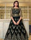 image of Net Fabric Sangeet Wear Elegant Embroidered Gown Style Anarkali Suit In Black Color