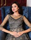 photo of Sangeet Wear Grey Color Elegant Embroidered Gown Style Anarkali Suit Net Fabric