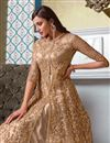 photo of Sangeet Wear Chikoo Color Elegant Embroidered Gown Style Anarkali Suit In Net Fabric