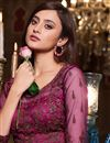 photo of Wine Color Net Fabric Embroidered Wedding Wear Fancy Gown Style Anarkali Suit